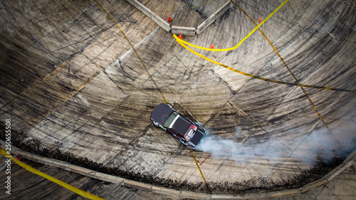 Top view Aerial view photo driver drifting car on asphalt track,Car drift Tableau sur Toile