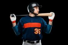 Baseball Player On Black Backg...