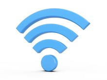 3D Rendering Blue Wifi Wireless Network Symbol Isolated On White Background