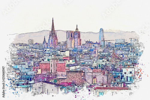 Watercolor sketch or illustration of a beautiful panoramic view of Barcelona in Spain. Traditional European architecture