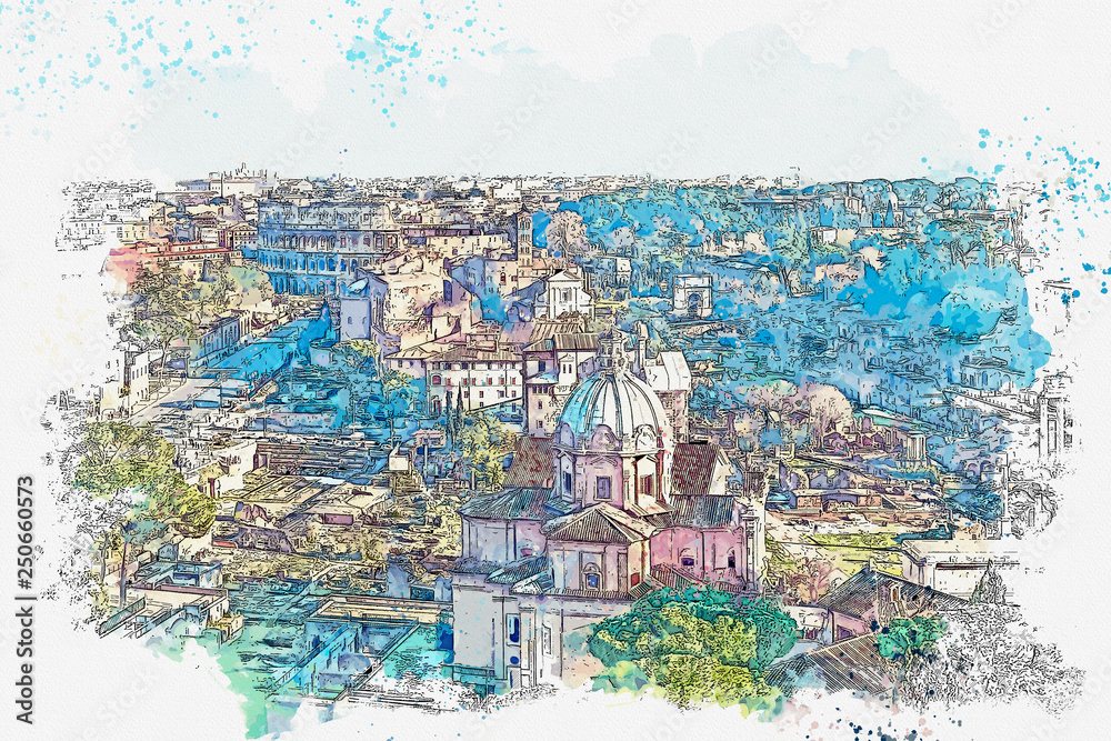 Watercolor sketch or illustration of a beautiful panoramic view of Rome in Italy. Traditional European architecture