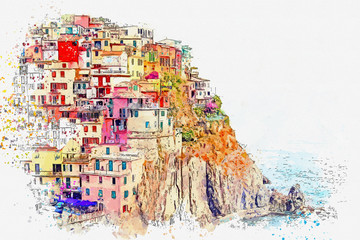 Fototapeta Współczesny Watercolor sketch or illustration of a beautiful view of Manarola - a small city in Italy, which is located near the sea on a hill