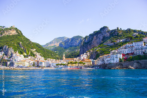 Fotobehang Mediterraans Europa View from the sea on the cozy and cute town Amalfi, Italy.
