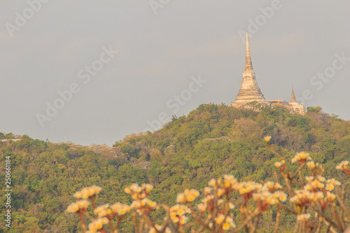 Con. Antique Beautiful landscape view of pagoda on top of the hill at Phra Nakhon Khiri Historical Park (Khao Wang), Petchaburi, Thailand.