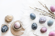Composition Of Eggs For The Holiday Of Easter. Painted Eggs In Pink Tones. Background For The Presentation Of Work Or Text. Top View. Copy Space.  Mock-up