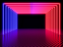 Neon Light Tunnel On Carbon Fi...