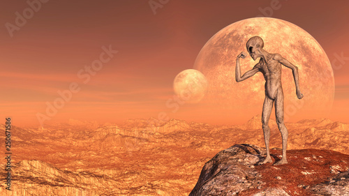 Illustration of a gray alien in a muscle pose atop a mountain peak with moons in the background on a red world.