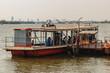Samut Prakan, Thailand - March 25, 2017: Local ferry pier across Chao Phraya River at Amphur Muang district, Samut Prakarn, Thailand.