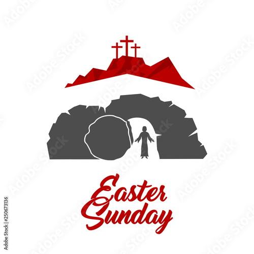 Easter illustration. Jesus Christ is risen. Wallpaper Mural
