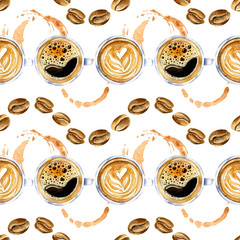 Panel Szklany Do kawiarni Watercolor seamless pattern in retro style with coffee cups, splashes and coffee bean. Vintage coffee ornament with organic texture in gold and brown colors isolated on a white background