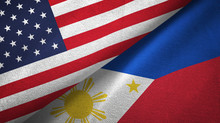 United States And Philippines Two Flags Textile Cloth, Fabric Texture
