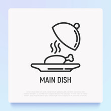 Main Dish In Restaurant Thin Line Icon. Modern Vector Illustration.