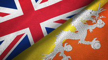United Kingdom And Bhutan Two Flags Textile Cloth, Fabric Texture