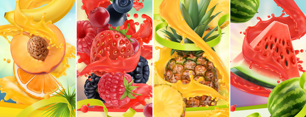 Panel Szklany Owoce Juicy and fresh fruit. Peach, strawberry, raspberry, pineapple, watermelon. Juice splash. 3d vector realistic set. High quality 50mb eps