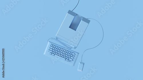 Fotografía  Blue Vintage Computer Keyboard and Mouse 3d illustration 3d render