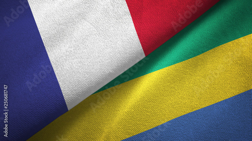 Fotografie, Obraz  France and Gabon two flags textile cloth, fabric texture