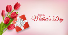 Mother's Day Horizontal Banner With Red Gift Box With Bow And Red Tulip Flower Bouquet From Top. Vector Illustration On Pink Background, For Spring And Easter Design Template