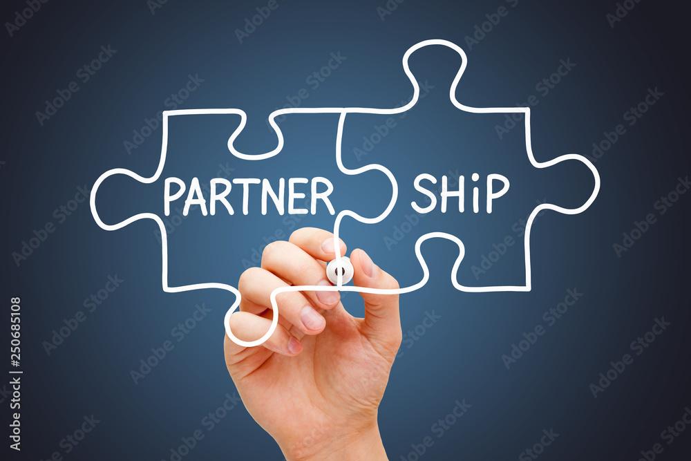 Valokuva Partnership Jigsaw Puzzle Business Concept
