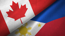 Canada And Philippines Two Flags Textile Cloth, Fabric Texture