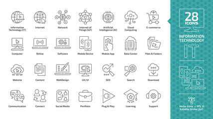 Information technology editable stroke outline icon set with IT network system, communication, online computer, website content, web design, software, data center, mobile device and app thin line sign