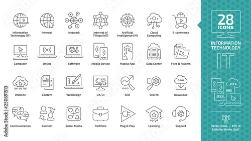 Fotografía  Information technology editable stroke outline icon set with IT network system,