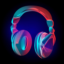 Vector Colorful Headphones Or Music Sound Earphones Silhouette With Abstract .geometry Lines Texture And Outline Gradient Waves Vintage Modern Trendy Art Graphic Design Illustration On Dark Background