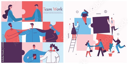 Vector illustration of the office concept business people in the flat style. E-commerce and team work business puzzle concept