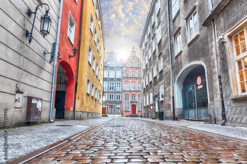 Photo  Empty street of Gdansk near Long Market, Old town, Poland