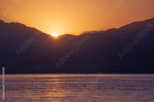 Fototapeta view on beautiful sunrise from Eilat, Israel