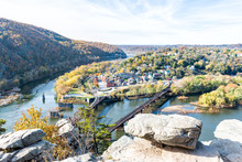 Harper's Ferry Overlook With Colorful Orange Yellow Foliage During Fall, Autumn Forest With Small Village Town By River In West Virginia, WV