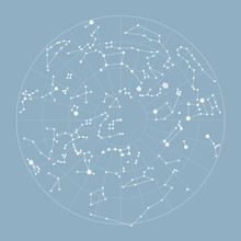 Star Map Vector Illustration. Map Of Constellations. System Star Solar Graphic Vintage Astronomy Planets For Poster, Postcard, Banner, Cover. Vector Illustration Of Starry Sky On Light Blue Background