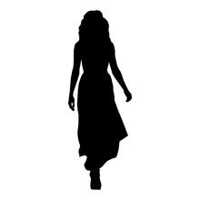 Woman In Long Evening Dress Wa...