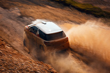 Rally Vehicle Going Fast With Mud And Water Splash