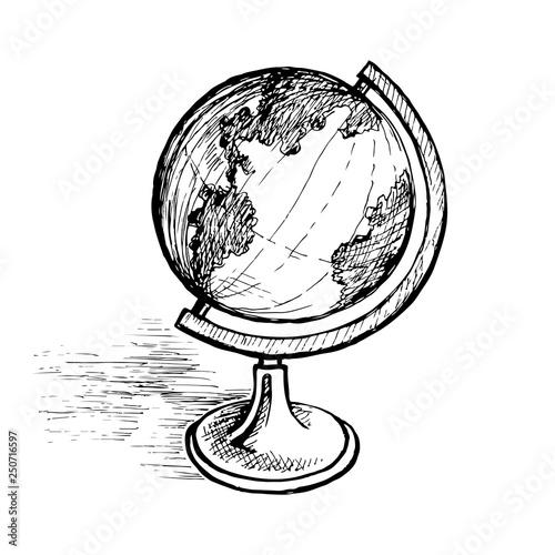 Fotografia  Globe on a sketch stand