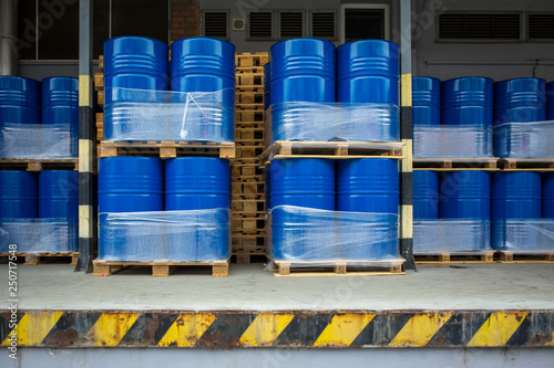 Toxic waste/chemicals stored in barrels at a plant - cans