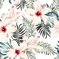 Fototapeta Do łazienki Tropical hibiscus flowers and palm leaves bouquets, white background. Vector seamless pattern. Jungle foliage illustration. Exotic plants. Summer beach floral design. Paradise nature