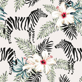 Fototapeta Młodzieżowe - Tropical zebra animal, white hibiscus flowers, palm leaves, white background. Vector seamless pattern illustration. Summer beach floral design. Exotic jungle plants. Paradise nature