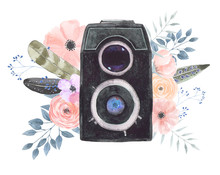 Watercolor Camera Flower 44