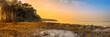 canvas print picture - Panorama Dämmerung an der Ostseeküste