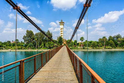 Suspension bridge located near the Sabanci Central Mosque in a center of Adana c Wallpaper Mural