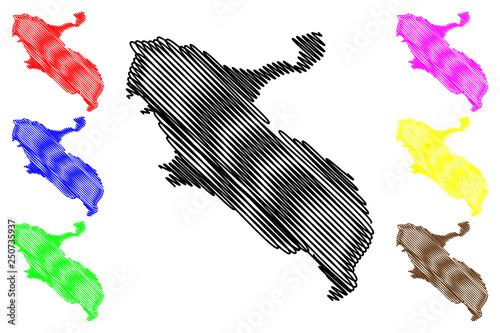 Fotografie, Obraz  Ilam Province (Provinces of Iran, Islamic Republic of Iran, Persia) map vector i