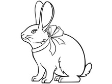 Cute Rabbit With A Ribbon Arou...
