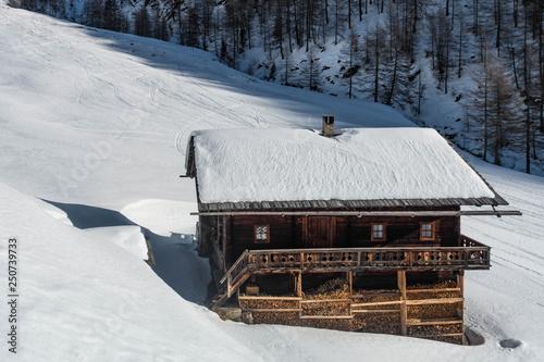 Fotografie, Obraz  Almhütte im Schnee