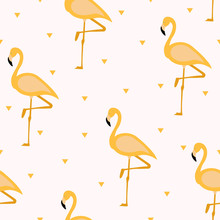 Tropical Flamingo Pattern. Sea...