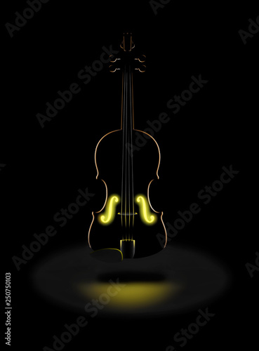 Photo  The golden tones of a classic violin is expressed with a glowing golden light from within in this dramatic image