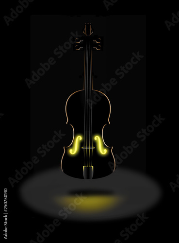 The golden tones of a classic violin is expressed with a glowing golden light from within in this dramatic image Canvas Print