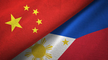 China And Philippines Two Flags Textile Cloth, Fabric Texture