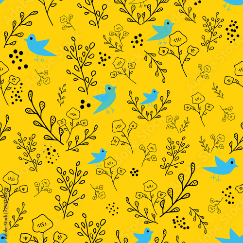 Fotografie, Obraz  Black and blue hand drawn flowers and birds on yellow background seamless pattern