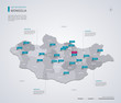 Mongolia vector map with infographic elements, pointer marks.