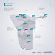 Namibia vector map with infographic elements, pointer marks.